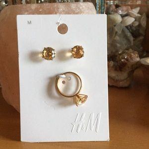 H&M gold citrine topaz color earring & ring set